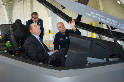 Lockheed Martin Chief Test Pilot Alan Norman briefs Israel's Minister of Defense Moshe Yaalon in the cockpit of an F-35 while Israeli Air Force (IAF) Brig Gen Ya'akov Shaharabani, IAF Air Attache to the United States observes. (Lockheed Martin photo by Angel Delcueto). (PRNewsFoto/Lockheed Martin) (PRNewsFoto/LOCKHEED MARTIN)