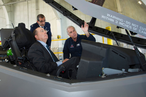 Lockheed Martin Chief Test Pilot Alan Norman briefs Israel's Minister of Defense Moshe Yaalon in the ...