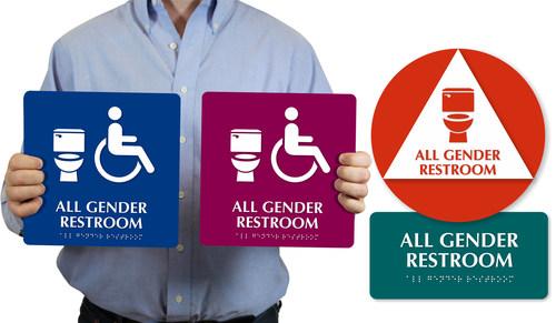 New all-gender restroom signage found at www.mydoorsign.com/all-gender-restroom-signs ...