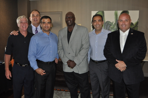 Drew Pragliola, Senior VP of Sales and Marketing, AmTRAN/JVC TV; Joe Pisarcik, CEO, NFLA; Yousef Memarzadh, Chief Marketing Officer, Paul's TV; former NY Giants running back OJ Anderson; Babak Ghaznavi, CEO, Paul's TV; former NY Giants punter Sean Landeta. (PRNewsFoto/AmTRAN Video Corporation)
