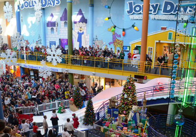 Santa flew down the giant 47' Yule Slide at The Children's Museum of Indianapolis this morning.