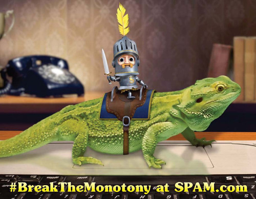 The animated Sir Can-A-Lot(TM) takes over the social media properties of the SPAM(R) brand in March. The action will be focused on the SPAM(R) brand's Twitter, YouTube and Facebook pages.  (PRNewsFoto/Hormel Foods)