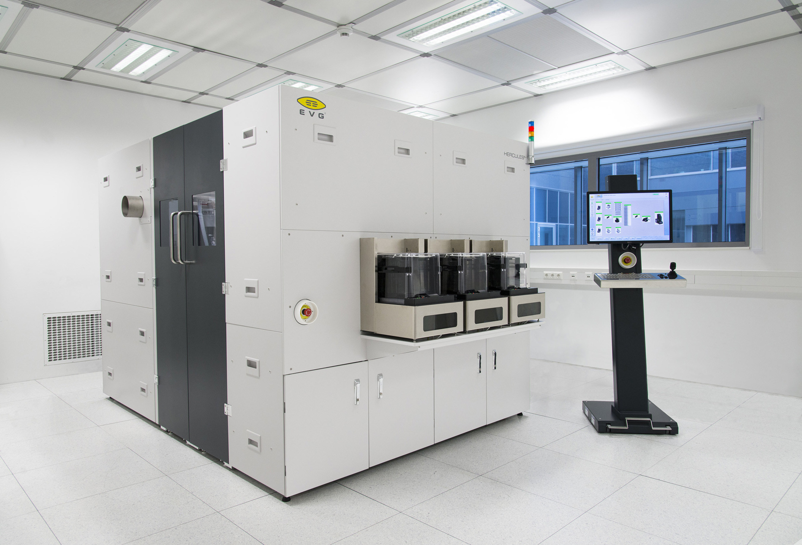 EV Group's HERCULES(R) NIL track system provides a complete, dedicated UV-NIL solution that is ideally suited for high-volume manufacturing of emerging photonic devices. It combines cleaning, resist coating and baking pre-processing steps with EVG's proprietary SmartNIL(TM) large-area nanoimprint lithography process in a single platform.