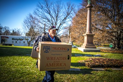 Baylor driver and Vietnam Veteran David Richmond delivers wreaths to those who have fallen.