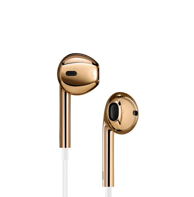 A one-of-a-kind pair of classic Apple EarPods in solid rose gold created for the (RED) Auction. (PRNewsFoto/(RED)) (PRNewsFoto/(RED))