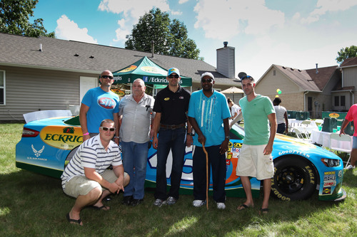 NASCAR Driver Aric Almirola Gives Military Families in Indianapolis a Big Surprise.  (PRNewsFoto/Eckrich)