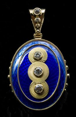 18k Gold Rose Engine Engraved & Enameled Pendant with Diamonds by Stewart Jones