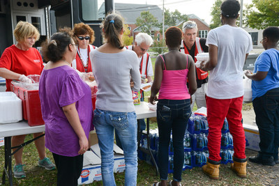 American Red Cross staff provide food for Hurricane Matthew survivors in Lumberton, NC.