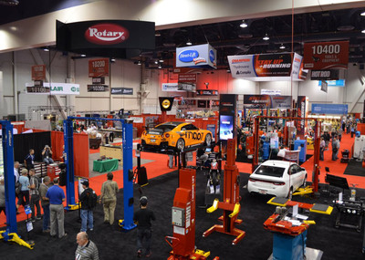 Rotary Lift will show a wide variety of lifting options in booth 10339 at the SEMA Show, Nov. 5-8 in Las Vegas. The range of products provides shop owners with the ability to match their lifts with their facilities and clientele. The display will highlight Shockwave(TM)-equipped lifts, which are the world's fastest, and SPOA10 two-post lifts, which are the most popular lifts in the world. Other Rotary Lift vehicle lifts on display in the booth will include the SmartLift(R) inground lift, versatile Mach(TM) series mobile column lifts and the new MW-200 Mobile Wheel Lift.  (PRNewsFoto/Rotary Lift)