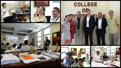 The Altair Team at the University of Philippines. In top right group photo, from left to right, Arch. Edra Belga-Casono - University Research Associate, Prof. Mary Anne A. Espina - Dean, Department of Architecture, Mr. Jeffrey Brennan - Chief Marketing Officer Altair, Dr. Luca Frattari - Business Development Director AEC Altair, Mr. Dileep Narayanan - Director Strategic Accounts, Altair ASEAN, Prof. Nicolo Del Castillo - Building Science Studio Laboratory Head