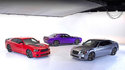 """From left to right: 2013 Dodge Charger SRT8 Super Bee, 2013 Dodge Challenger """"Core"""" model and 2013 Chrysler 300 """"Core"""" model. (PRNewsFoto/Chrysler Group LLC) (PRNewsFoto/CHRYSLER GROUP LLC)"""