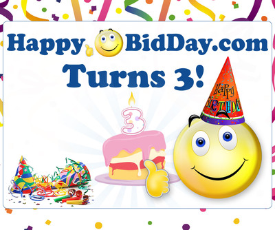 Happy Birthday to HappyBidDay.com.  (PRNewsFoto/HappyBidDay)