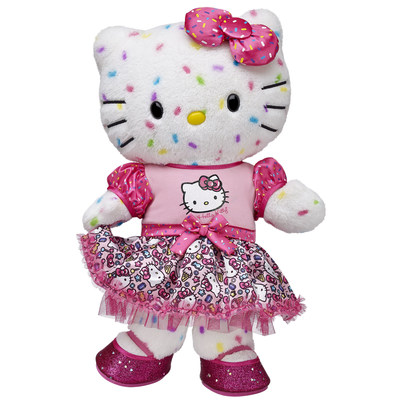 Our 40th Anniversary Hello Kitty wears a signature party dress to celebrate the occasion, as well as a party-inspired rainbow confetti fur pattern. (PRNewsFoto/Build-A-Bear Workshop, Inc.)