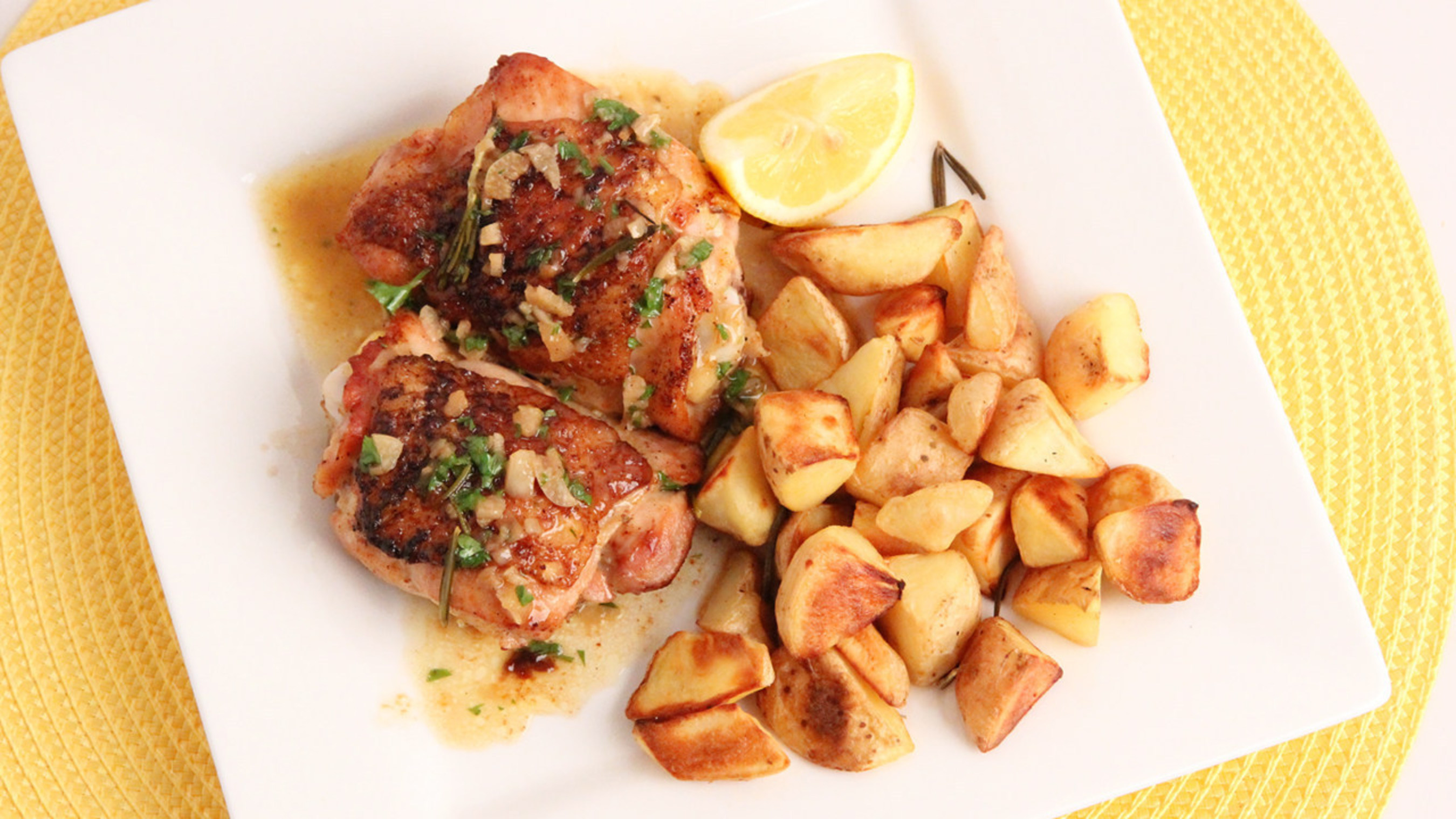 """ConAgra Foods brands including Hunt's(R) tomatoes, Alexia(R) Foods and Reddi-wip(R) are offering Valentine's Day meal ideas through partnerships with Internet cooking show host Laura Vitale (""""Laura in the Kitchen"""") and grocery delivery service Instacart. A true no-fuss meal, Lemon Roasted Chicken Thighs with Roasted Potatoes takes only a half hour to prepare and allows cooks to make all ingredients together in the oven. Couples are encouraged to post a picture of their Valentine's Day meal at home using #VDayIn. Additional recipe ideas and inspiration for a romantic Valentine's Day from ConAgra Foods brands can be found at www.forkful.com."""