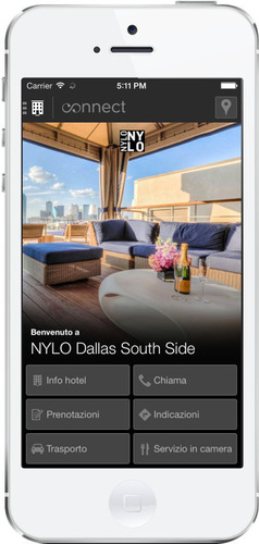 Nylo Hotels Mobile App - Italian. (PRNewsFoto/Monscierge) (PRNewsFoto/MONSCIERGE)