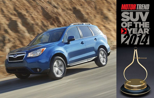 Motor Trend magazine chose the 2014 Subaru Forester as the SUV of the Year. The crossover is currently available for zero percent financing from Briggs Subaru of Topeka.  (PRNewsFoto/Briggs Subaru)