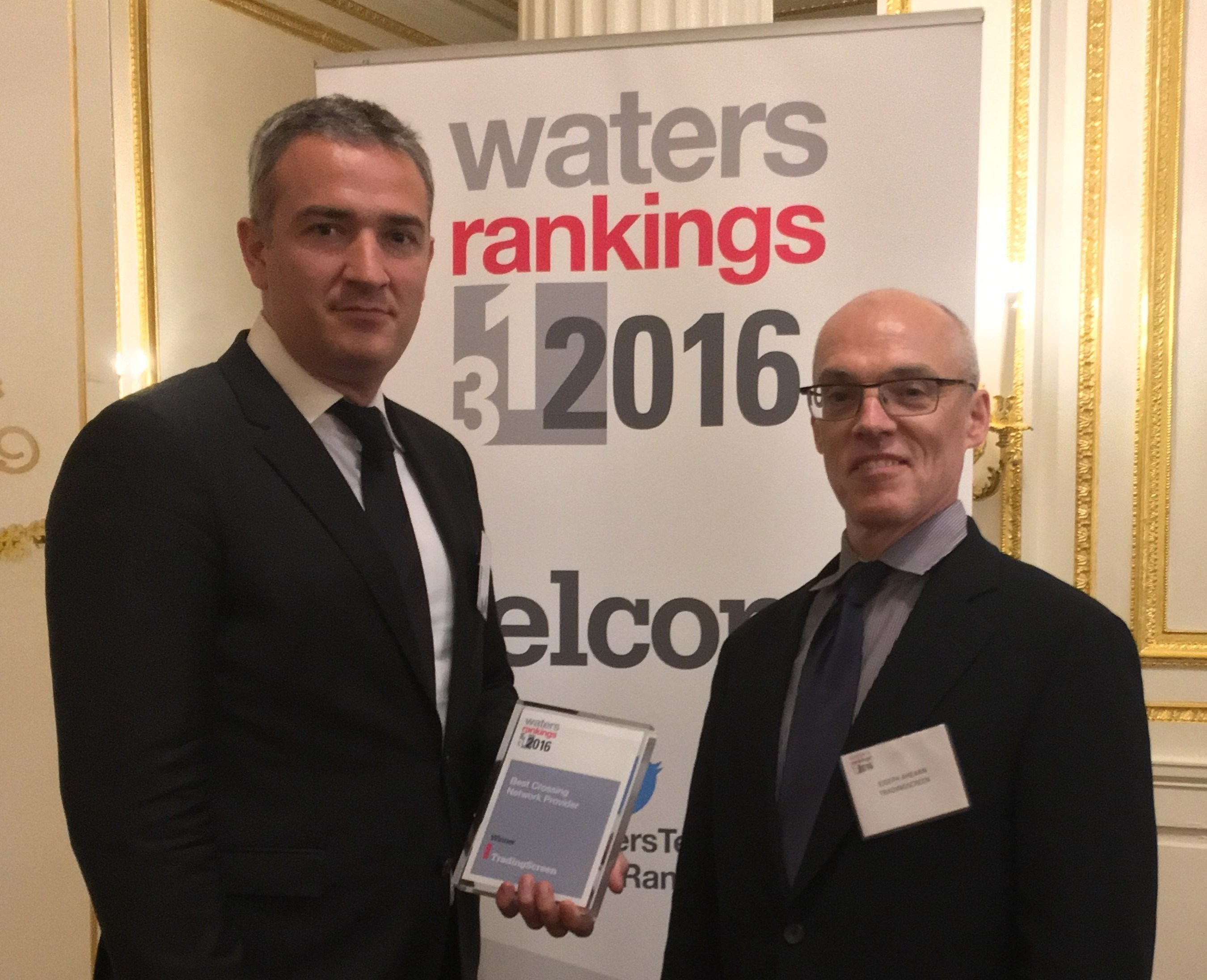 Pictured: Alexandre Carteau, TradeCross Business Manager & Joseph Ahearn, COO & Co-Founder, TradingScreen, receives the WatersTechnology award at the Metropolitan Club in NY.