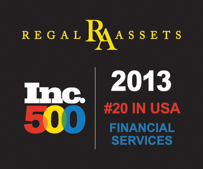 "Inc. Magazine has ranked Regal Assets No. 20 in the United States for financial services landing Regal Assets on the Inc. Magazine 500 List, an exclusive ranking of the nation's fastest-growing private companies. The list represents the most comprehensive look at the most important segment of the economy -- America's independent entrepreneurs.   ""As an Inc. 500 honoree, Regal Assets now shares a pedigree with Intuit, Zappos, Under Armour, Microsoft, Jamba Juice, Timberland, Clif Bar, Pandora, Patagonia, Oracle, and dozens of other notable recent alumni,"" said Inc. Magazine Editor in Chief Eric Schurenberg.  For more information on Regal Assets visit the website www.RegalAssets.com.  (PRNewsFoto/Regal Assets)"