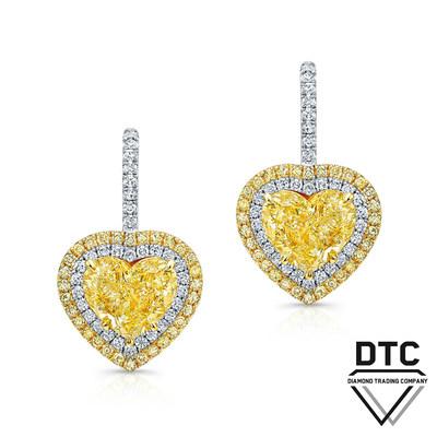 Heart-shape Fancy Yellow Diamond Earrings by DTC