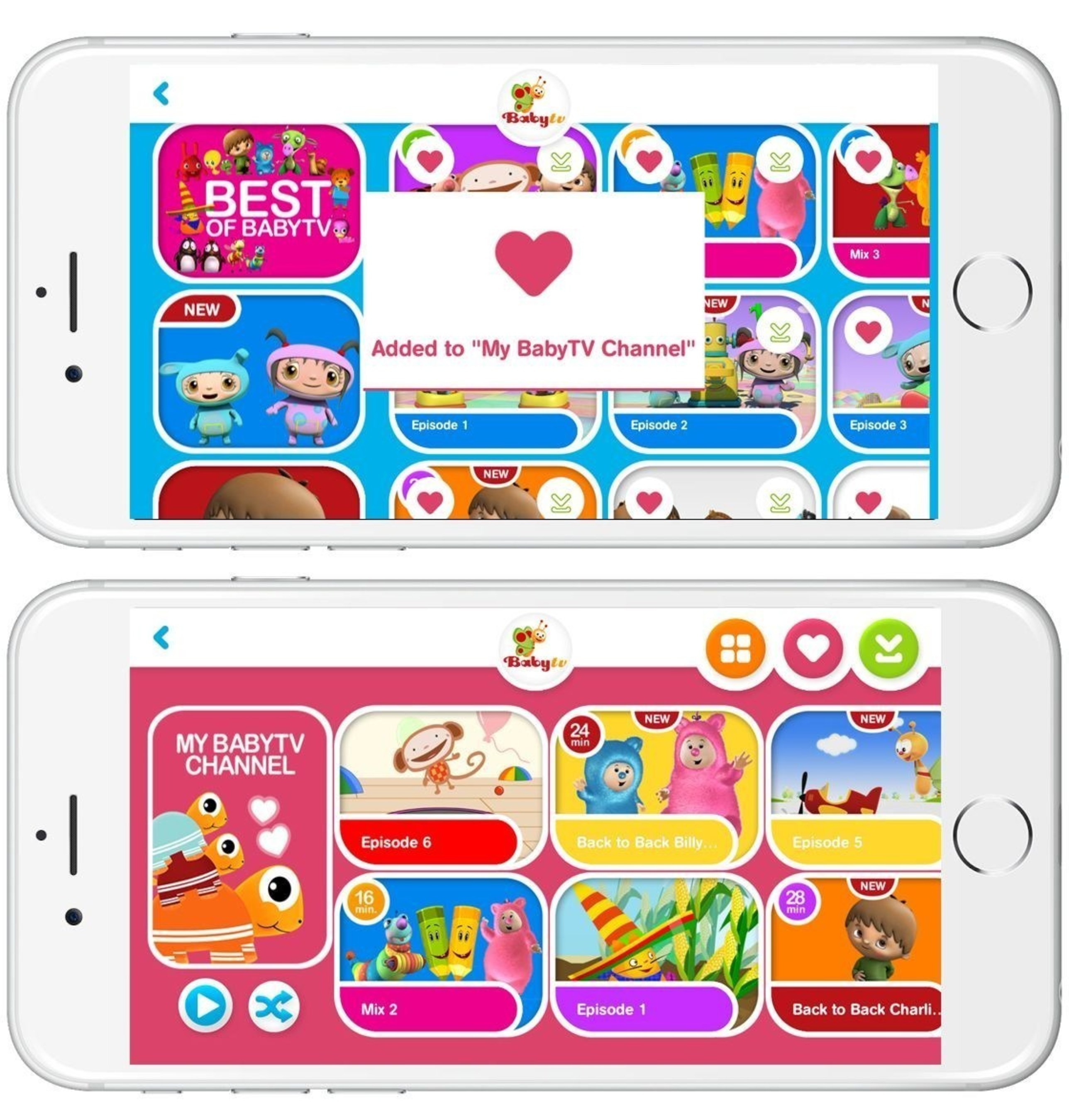 Create your own playlist with the new 'My BabyTV Channel' feature (PRNewsFoto/BabyTV)