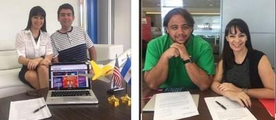 La Directora y Socia de InfoNegocios-Miami, Nancy Clara, firma la franquicia junto a sus socios Emilio Elias e Ignacio Etchepare