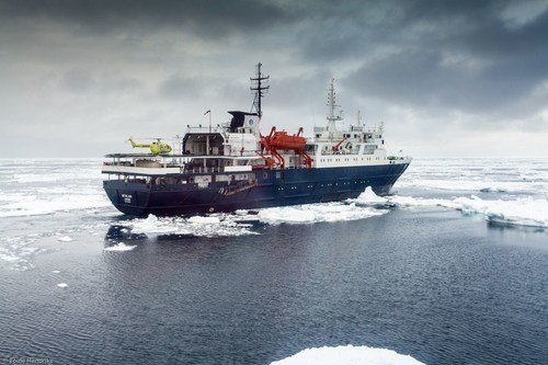 Ortelius in the Ross Sea with helicopter - (c) Toine Hendriks-Oceanwide Expeditions (PRNewsFoto/Oceanwide ...
