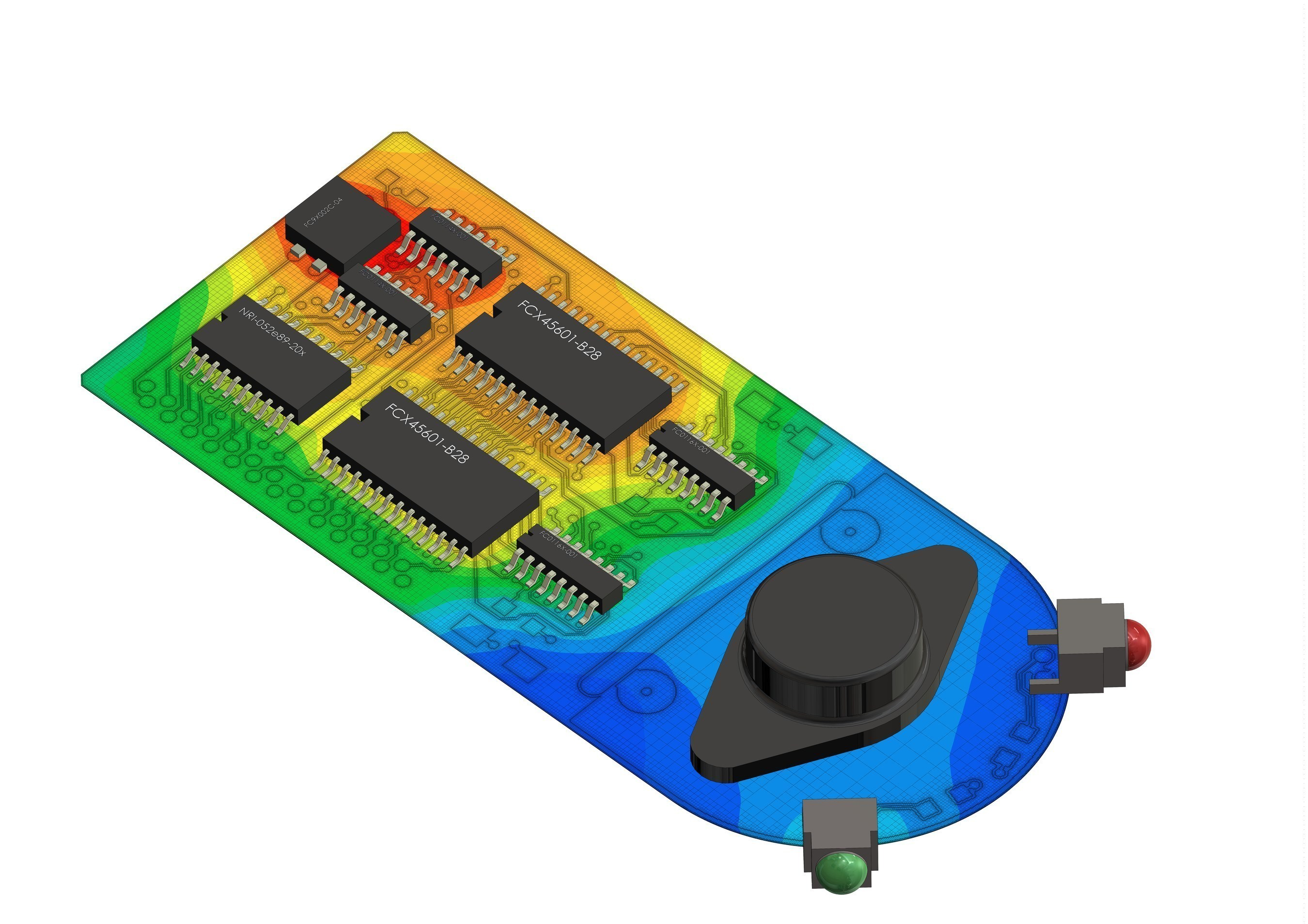 The new Mentor Graphics FloTHERM XT product with EDA connectivity has been used to calculate and display the surface temperature on an advanced printed circuit board.