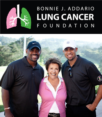 Chris Draft, Bonnie J. Addario, and Hank Baskett.  (PRNewsFoto/Bonnie J. Addario Lung Cancer Foundation)
