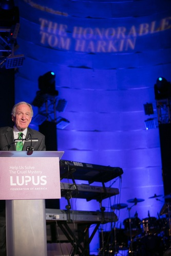 Lupus Foundation of America Board Member Marjorie S. Susman presents Senator Tom Harkin (IA) with an award to recognize his public service and contributions on behalf of all of all those affected by chronic disease and disability in Washington, DC on May 20. (PRNewsFoto/Lupus Foundation of America)