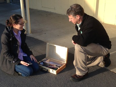 An OpTerra engineer and Jefferson ESD teacher collaborate during a recent solar energy STEM training. As part of the larger sustainability program at the district, OpTerra is providing professional development opportunities around STEM learning to teachers and students.