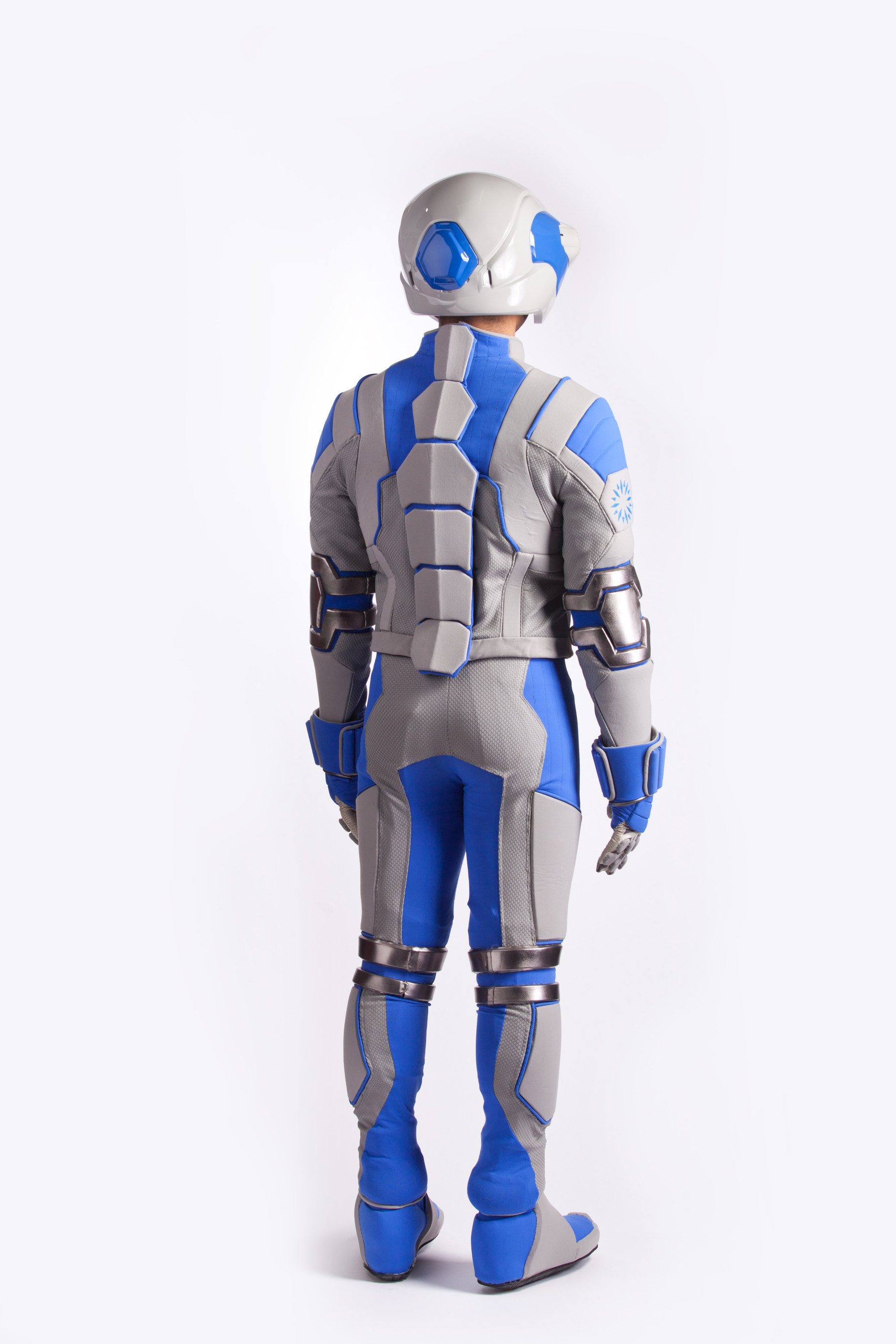 Back view of the Genworth R70, a first of its kind, state-of-the-art age simulation suit that will help raise awareness about the need for long term care planning and educate the public on the physical effects associated with aging. The Genworth R70 provides consumers with a powerful experience, allowing them to understand and empathize with what it feels like to grow old.  Genworth unveiled the suit on Thursday, Nov. 20, 2014, at the Social Innovation Summit in Silicon Valley, California.