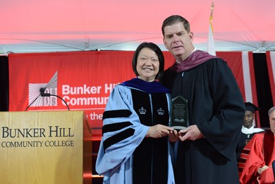 Mayor Walsh and President Pam Eddinger at the 2016 BHCC Commencement