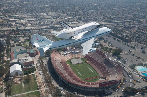 Endeavour flies over her new home at the California Science Center before landing at LAX on September 21, 2012.  ...