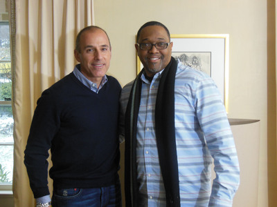 NBC TODAY Show's Matt Lauer and Kenneth Braswell, Director of the National Responsible Fatherhood Clearinghouse, on the set of the Fatherhood TV PSA created by the Ad Council.  (PRNewsFoto/National Responsible Fatherhood Clearinghouse)