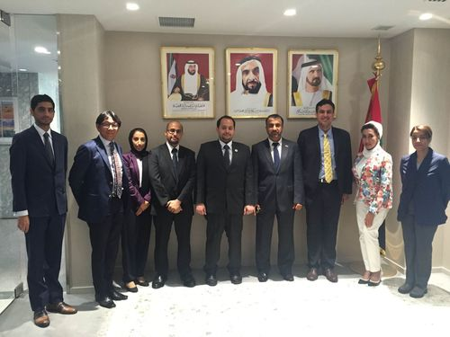 HE Moez Al Fahim, Charge dâeuro(TM)Affaires, UAE Embassy in Japan with Ibrahim Aljanahi, Deputy CEO of Jafza and his team at the UAE Embassy in Tokyo (PRNewsFoto/Jafza)