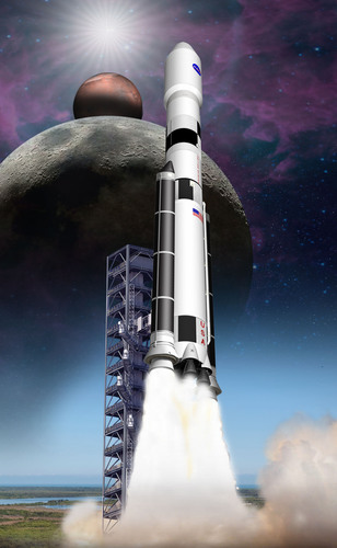 Artist concept of ATK's Advance Concept Booster in support of NASA engineering and risk reduction tests as part of their Space Launch System (SLS) program. Photo courtesy of ATK.  (PRNewsFoto/ATK)
