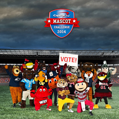 Sixteen university icons are preparing to suit up and go beak-to-paw, fruit-to-nut and stinger-to-hoof in the 2014 Capital One Mascot Challenge.  Driven exclusively by fan voting, the last mascot standing will be named the Capital One National Mascot of the Year at the conclusion of college football season. (PRNewsFoto/Capital One Financial Corp)