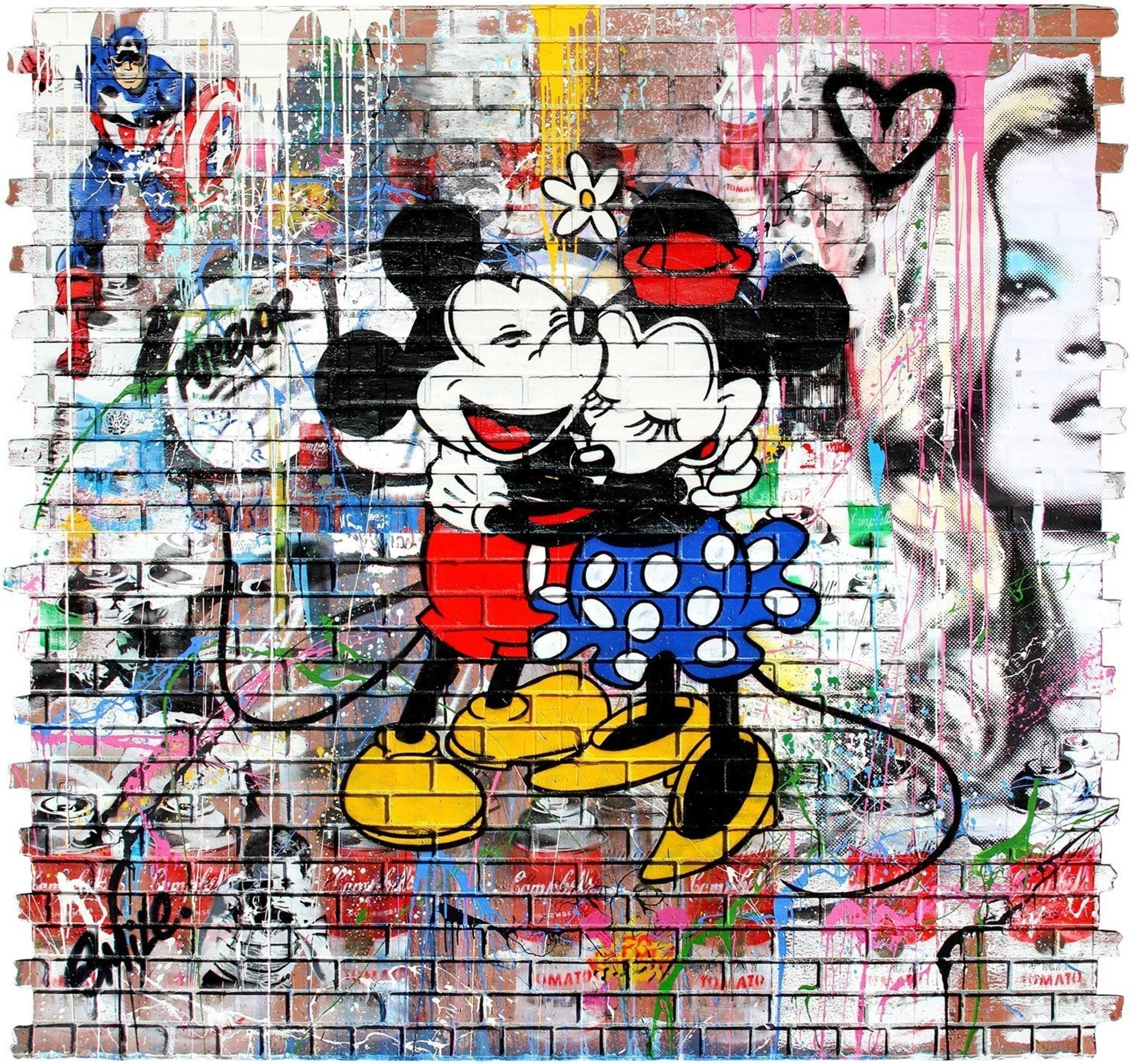 Mr. Brainwash (B. 1966 - ) Mickey & Minnie, 2016 Stencil and Mixed Media on Fiberglass Brick Wall, 96 x 102 inches