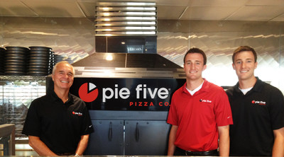 Pie Five franchise owner and former Applebee's CEO, Dave Goebel with sons Kerry and Kevin.