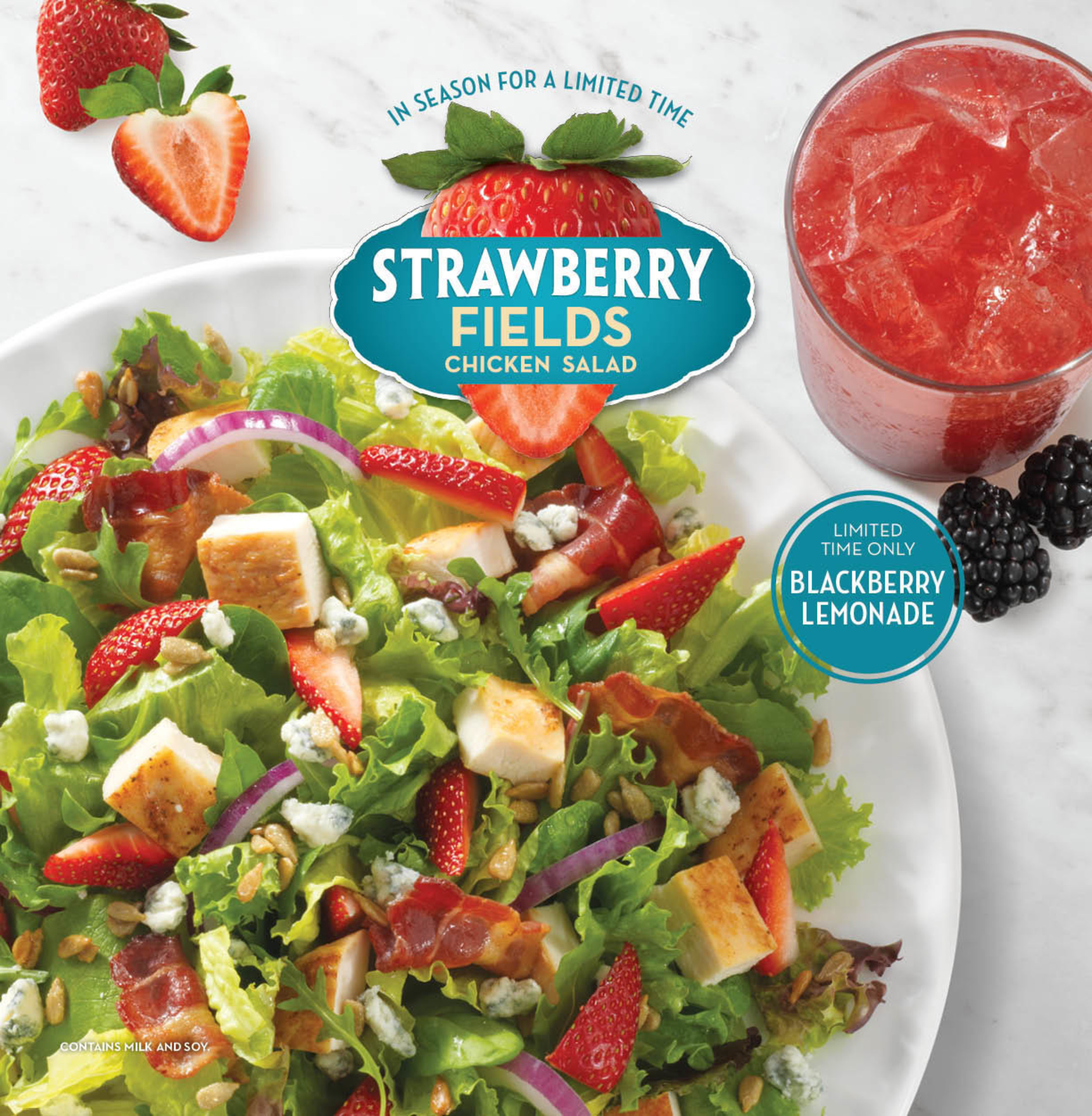 Wendy's is saying cheers to summer with three new three limited-time beverages, Blackberry Lemonade, Orange Mango FRUITEA CHILLERS and Blueberry Pineapple FRUITEA CHILLERS, to join the return of Wendy's seasonal Strawberry Fields Chicken Salad. The summer salad is made with fresh ingredients like ripe, sweet California strawberries, honey-roasted sunflower seeds and blue cheese crumbles, topped with freshly cooked Applewood Smoked bacon and a grilled chicken breast that is served warm.