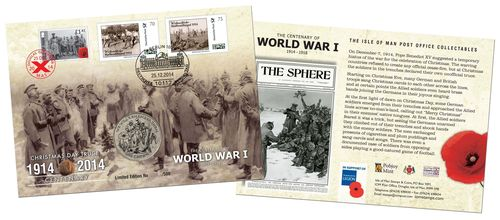 One of the 500 limited edition stamp and coin covers produced by Isle of Man Post Office to mark the centenary of the Christmas Day truce. (PRNewsFoto/Isle of Man Post Office)