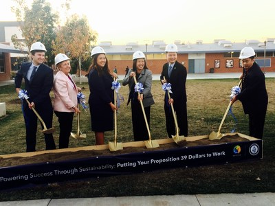 Westminster School District Board of Trustees, Superintendent Kim-Phelps, State Senator Janet Nguyen, and Mayor Tri Ta break ground on Westminster's district-wide Prop 39 sustainability program on Tuesday, December 1, 2015.