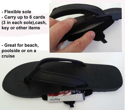 Carry up to six cards (three in each sole), cash, key or other items in the flexible soles of the SlotFlops.  (PRNewsFoto/ArchPort)