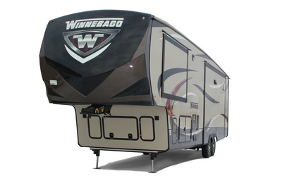 The luxury fifth-wheel, the Winnebago Destination, is making its retail debut at the Florida RV SuperShow in Tampa, January 15-19, 2014. (PRNewsFoto/Winnebago Industries, Inc.) (PRNewsFoto/WINNEBAGO INDUSTRIES, INC.)