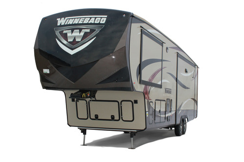 The luxury fifth-wheel, the Winnebago Destination, is making its retail debut at the Florida RV SuperShow in Tampa, January 15-19, 2014.  (PRNewsFoto/Winnebago Industries, Inc.)