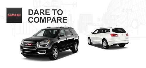 The Buick Enclave and the GMC Acadia are twin vehicles that different slightly in looks to fit with their nameplate. (PRNewsFoto/Cavender Buick GMC North)