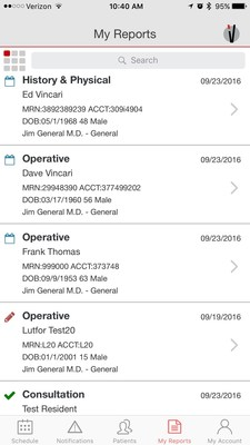 Vincari Mobile's My Report tab allows physician users to see all recent reports at a glance. The type of report (i.e., scheduled, in progress,  completed) are indicated by the colored icons on the lefthand side.