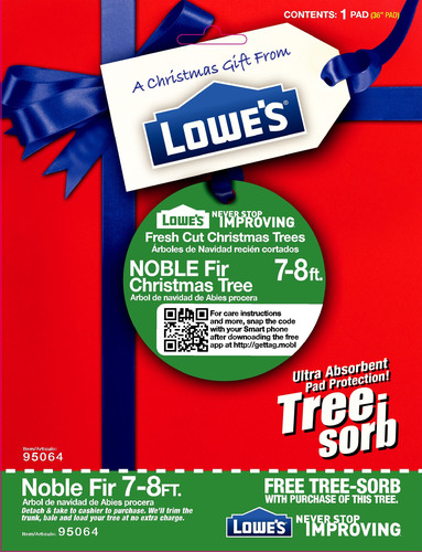 Tree-Sorb Super Absorbent Pad Included with Every Lowe's Live Christmas Tree over 7 Feet. (PRNewsFoto/SORBCO) (PRNewsFoto/SORBCO)