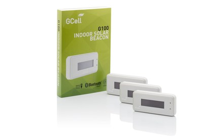 The GCell G100 Indoor Solar Powered Beacon is designed for large-scale commercial and enterprise iBeacon exploitation. It uses a hybrid energy supply of indoor light and batteries to allow you to broadcast Bluetooth signals at 100 millisecond intervals for the life of the product without needing to change the batteries. (PRNewsFoto/GCell)
