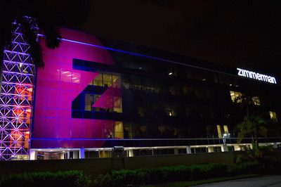 Zimmerman's worldwide headquarters turns pink for October.